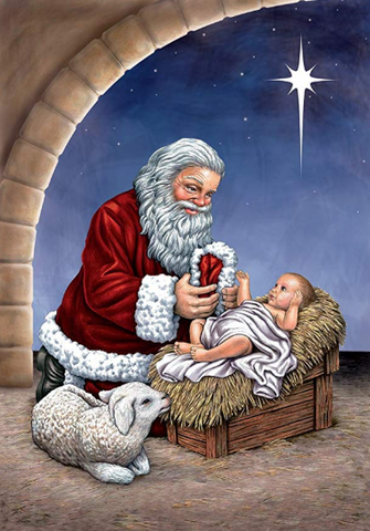 Santa and Baby Jesus- Full Drill Diamond Painting - Specially ordered for you. Delivery is approximately 4 - 6 weeks.