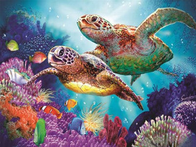 Sea Turtles- Full Drill Diamond Painting - Specially ordered for you. Delivery is approximately 4 - 6 weeks.