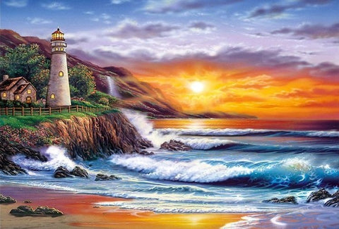 Lighthouse Sunset - 61 x 91.5cm (poster size) Full Drill (round), Diamond Painting Kit - Currently in stock