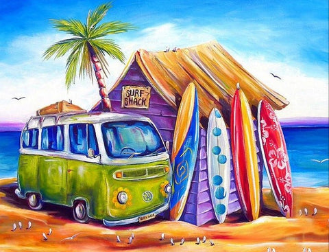 Surf Shack- Full Drill Diamond Painting - Specially ordered for you. Delivery is approximately 4 - 6 weeks.
