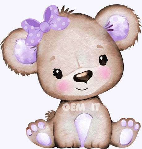 Baby Teddy Purple Bow.  Full Drill Diamond Painting - Specially ordered for you. Delivery is approximately 4 - 6 weeks.