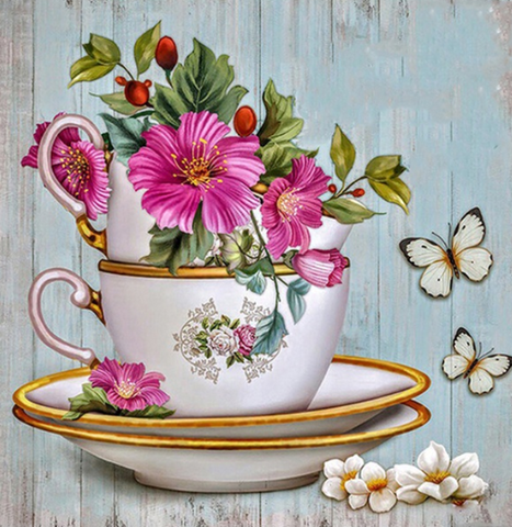 Special Order - Teacup and Flowers - Full Drill Diamond Painting - Specially ordered for you. Delivery is approximately 4 - 6 weeks.