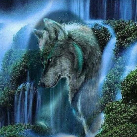 Special Order - Waterfall Wolf - Full Drill Diamond Painting - Specially ordered for you. Delivery is approximately 4 - 6 weeks.