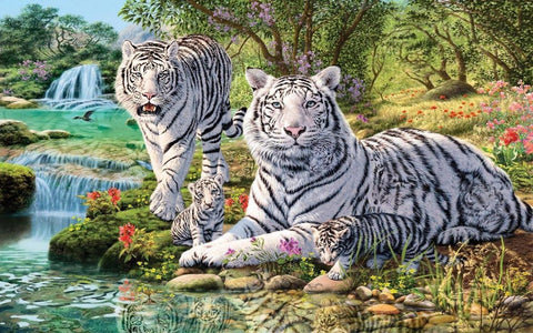 Special Order - White Tiger Family - Full Drill Diamond Painting - Specially ordered for you. Delivery is approximately 4 - 6 weeks.