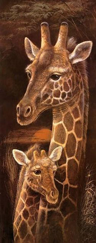 Wild Mothers -  Giraffe - 40 x 100cm - Full Drill (square) Diamond Painting Kit -Currently in stock