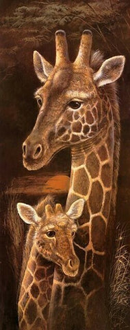 Currently in stock :Diamond Painting Kit - Wild Mothers Giraffe - 30 x 75cm - Full Drill (round)
