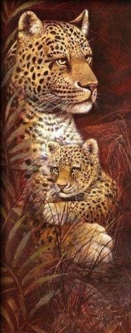 Currently in stock :Diamond Painting Kit - Wild Mothers Leopard - 30 x 75cm - Full Drill (round)