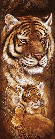 Wild Mothers - Tiger - 40 x 100cm - Full Drill (square) Diamond Painting Kit - Currently in stock
