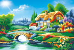 Bridge Cottage - Full Drill Diamond Painting - Specially ordered for you. Delivery is approximately 4 - 6 weeks.