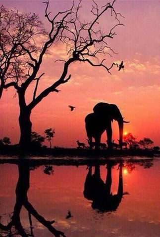 Elephant Sunset - 61 x 91.5cm (poster size) Full Drill (round), Diamond Painting Kit - Currently in stock