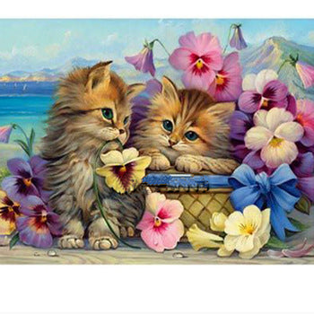 Flowers And Cat- Full Drill Diamond Painting - Specially ordered for you. Delivery is approximately 4 - 6 weeks.