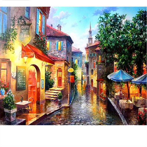 Street Scene - 61 x 91.5cm (poster size) Full Drill (round), Diamond Painting Kit - Currently in stock