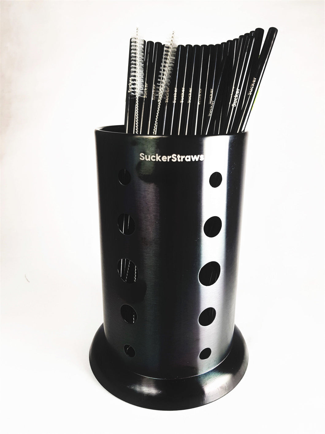 Product photo for Small Venue Starter Set showing the SuckerStraws glasswasher washing basket with metal straws and cleaning brushes displayed  SuckerStraws are bulk wholesale reusable metal straws for bars and restaurants available worldwide.