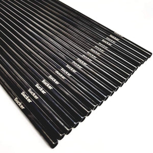 Reusable Metal Straw Small Venue Starter Set - 20 SuckerStraws reusable metal straws in a neat row showing the brand name. SuckerStraws are bulk wholesale reusable metal straws for bars and restaurants available worldwide.