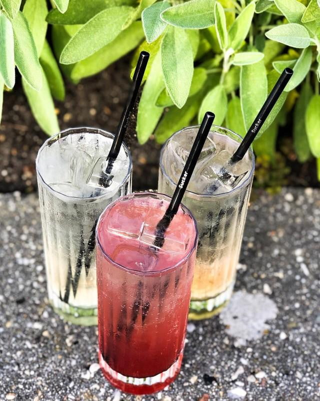Buy box of 20 reusable metal SuckerStraws - three fruity cocktails shown with black metal straws on a ledge with leafy bushes behind.