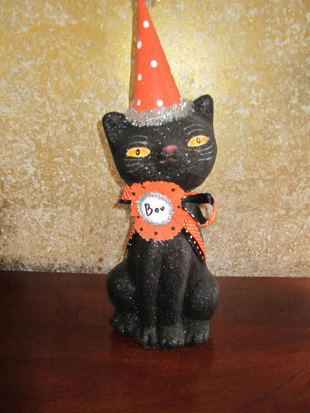 Large Vintage Black Cat Statue
