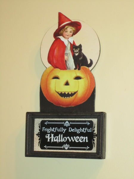 Wee Witch & Cat Vintage Sign - Halloween