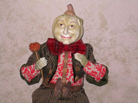 Standing Green Pumpkinhead Doll - Whimsical Halloween