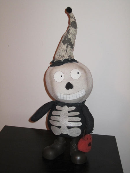 Large Skeleton Sock Doll with Pumpkin - Halloween