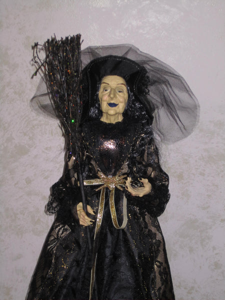 Black & Golden Whimsical Witch Doll