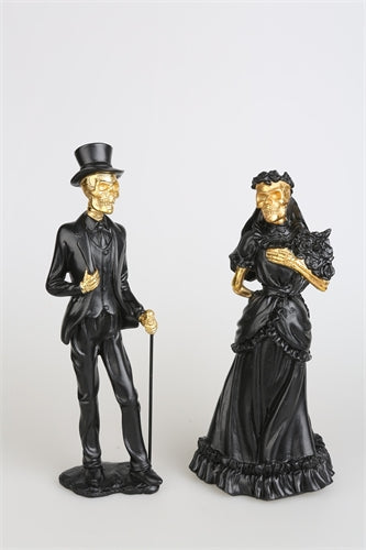 Black & Gold Skeleton Couple Figure Set