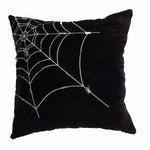 Black Velvet Spiderweb Halloween Pillow