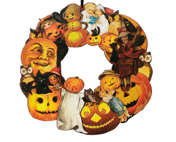 Vintage Halloween Wreath Sign - Large