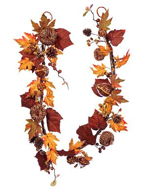 6' Fall Garland - Pumpkin Berry & Maple