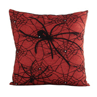Orange & Black Spiderweb Halloween Pillow