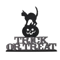 Cat on Pumpkin Trick-or-Treat Sign