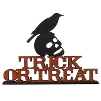 Crow on Skull Trick-or-Treat Sign.