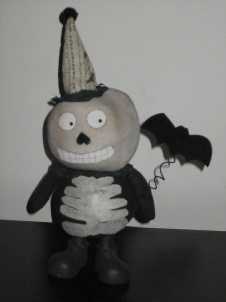 Small Skeleton sock Doll with Bat - Halloween
