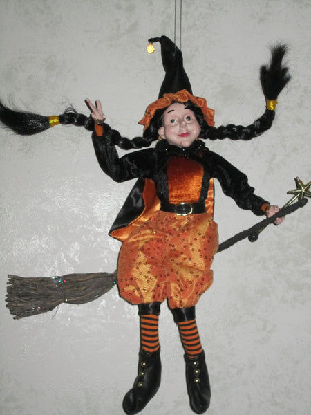 Witch in Flight Whimsical Doll