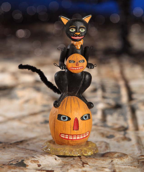 Masked Black Cat on Pumpkin Figure