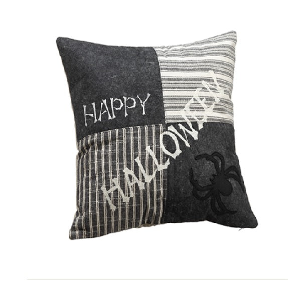 Halloween Spider Patchwork Pillow