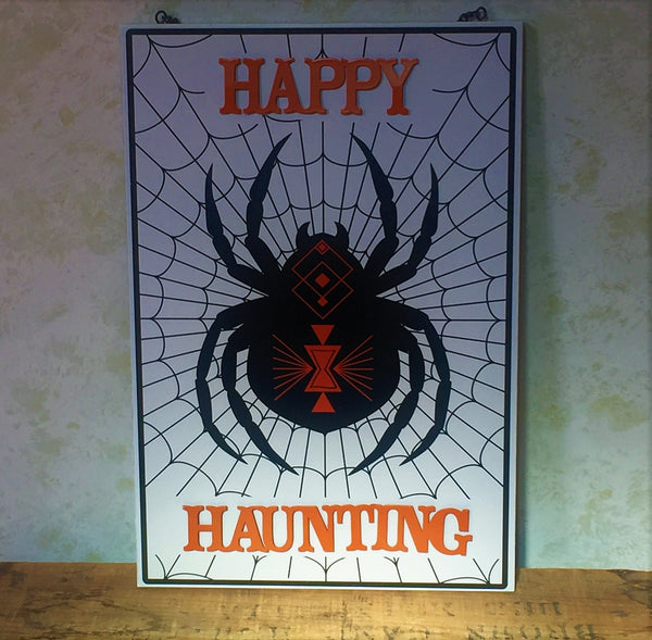 Happy Haunting Spiderweb Sign