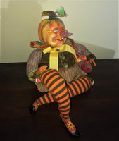 Orange Harvest Pumpkinhead Doll - Whimsical Halloween