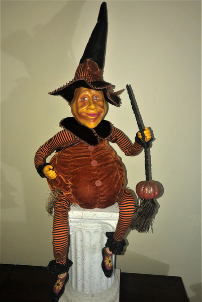 Witchy Gourd Doll - Whimsical Halloween