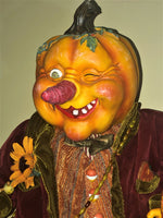"Large 30"" Harvest Pumpkinhead Doll - Whimsical Halloween"