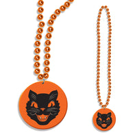 Halloween Beads w/ Cat Medallion