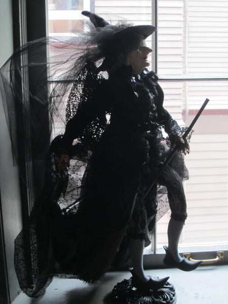 Witch Doll flying off to Sabbath - Halloween Whimsical