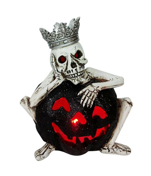 Skeleton king with glowing pumpkin