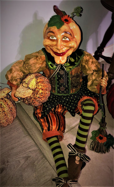 "30"" Cheeky Pumpkinhead Doll - Whimsical Halloween"
