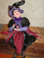 Purple Crystal Ball Gazing Whimsical Witch Doll