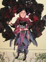 Whimsical Witch in Black Rose wreath