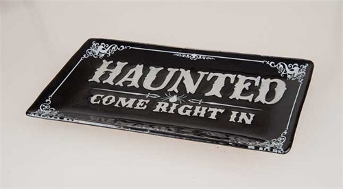 HAUNTED Glass Serving Platter