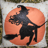 Sparkling Flying Witch Silhouette Pillow