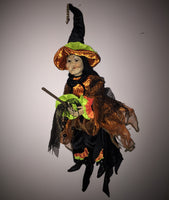 Flying Fernie Cackle  - Whimsical Witch Doll