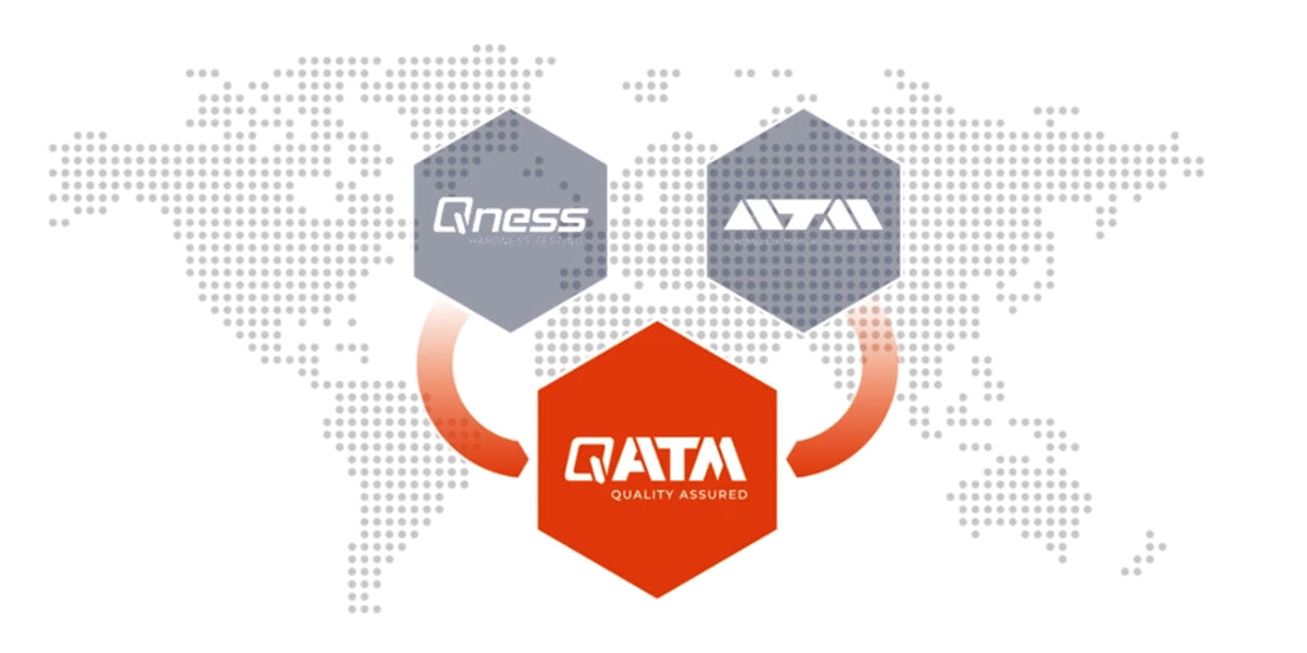 QATM logo on top of world map, merging the Qness and ATM logos