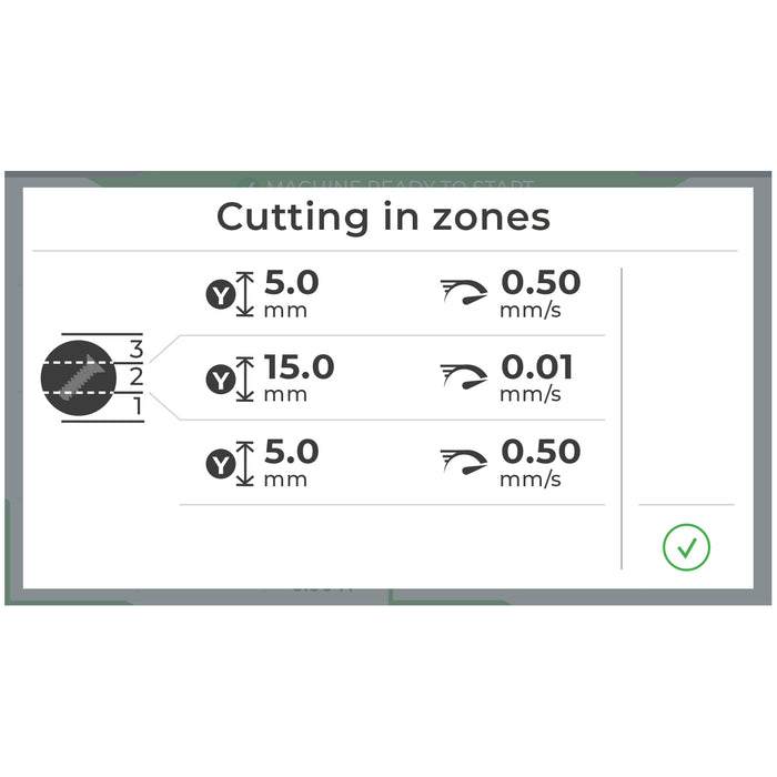 BR210 A Control Panel Display - Zone Cutting Feature